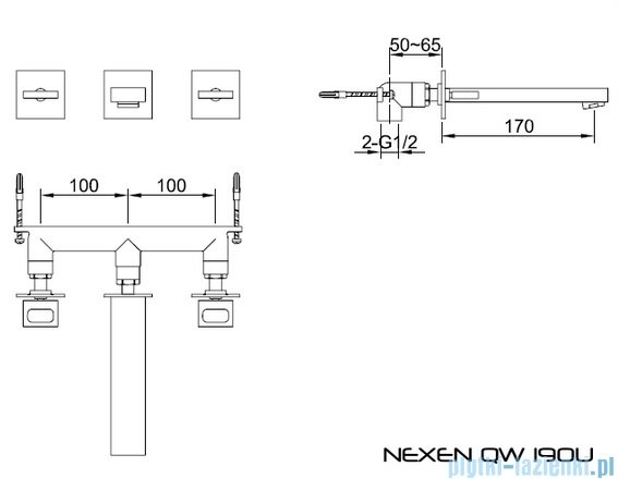 Kohlman Nexen-S 3-częściowa podtynkowa bateria umywalkowa SQW190U