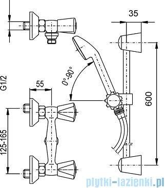 KFA CERAMIK Bateria natryskowa ścienna natrysk Neptun chrom 336-310-00