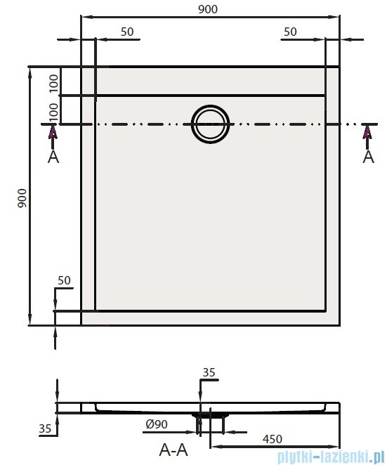 Villeroy&Boch Subway Brodzik Kwadratowy 90x90   UDA0935SUB1V-01