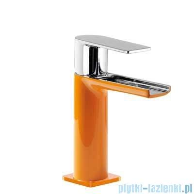 Tres Loft Colors Bateria umywalkowa z korkiem automatycznym wylewka kaskada otwarta kolor pomarańczowy 200.110.01.NA.D