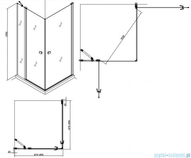 Alterna kabina kwadratowa 2-ścienna 90x90x195 cm przejrzysta ALTN-195216