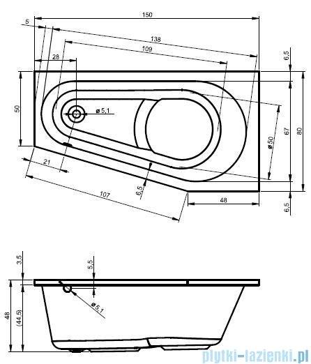 Riho Delta wanna asymetryczna 150x80cm lewa nóżki+syfon BB81/01U/AMC55