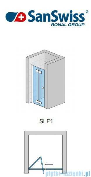 SanSwiss Swing Line F SLF1 Drzwi dwucześciowe 80cm profil biały Lewe SLF1G08000407