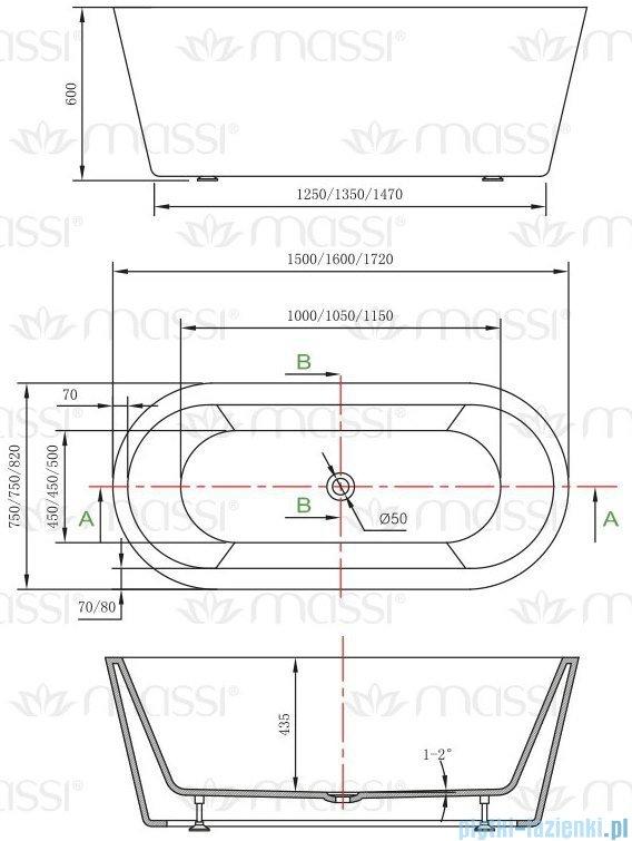 Massi Thermo 172 wanna wolnostojąca 172x82cm biała + syfon MSWA812172