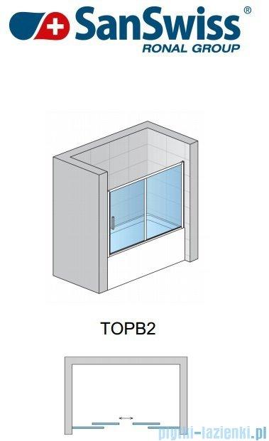 SanSwiss Top-Line TOPB2 Parawan nawannowy 2-częściowy 160cm profil srebrny TOPB216000107