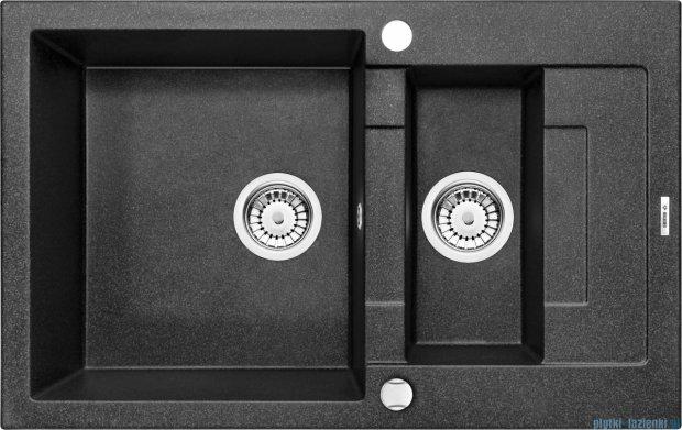 Deante Rapido zlewozmywak 1,5-komorowy z krótkim ociekaczem 78x49 cm grafitowy ZQK 2513