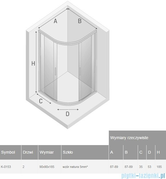 New Trendy Varia kabina półokrągła 90x90x185cm szkło natura K-0153