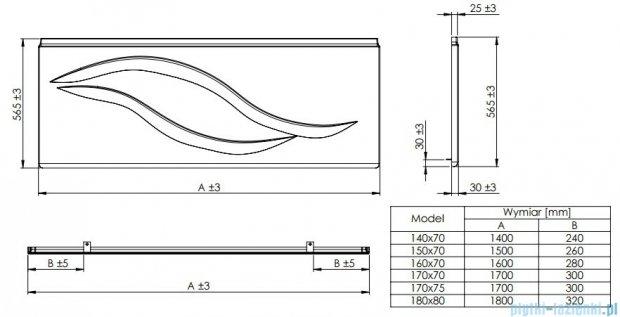 Roca Linea obudowa czołowa do wanny 170cm A25T014000