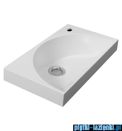 Omnires umywalka prawa wisząca/nablatowa 40x22cm biała KosMarble+P
