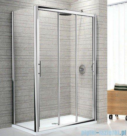 Novellini Drzwi prysznicowe przesuwne LUNES P 114 cm szkło przejrzyste profil srebrny LUNESP114-1B