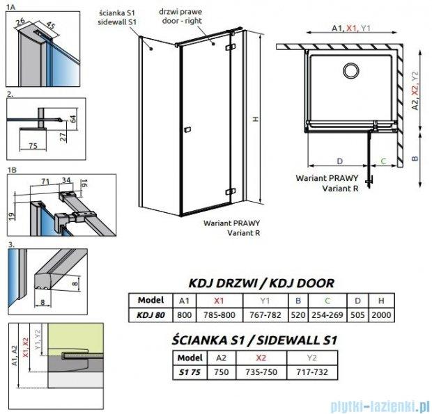 Radaway Fuenta New Kdj kabina 80x75cm prawa szkło przejrzyste 384043-01-01R/384049-01-01