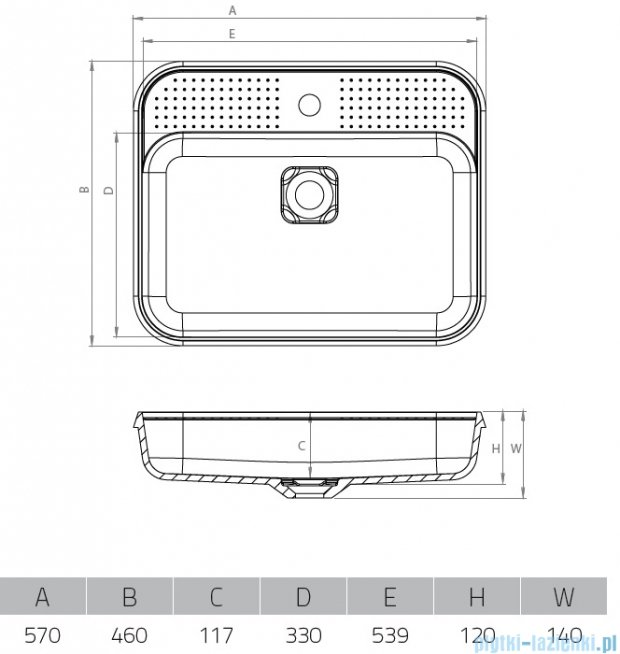 Vayer Citizen Mensa 57x46cm umywalka blatowa prostokątna