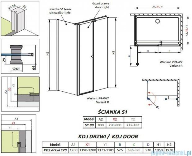 Radaway Eos II KDS kabina prysznicowa 120x80 prawa szkło przejrzyste 3799484-01R/3799410-01L