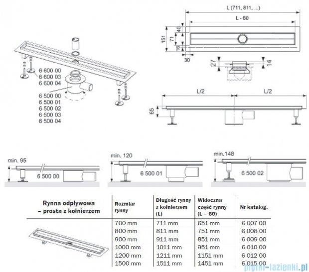 Tece Rynna odpływowa Tecedrainline-prosta z kołnierzem 80 cm 6.008.00