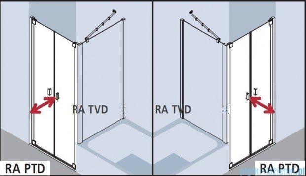 Kermi Raya Drzwi wahadłowe, 2-skrzydłowe, szkło przezroczyste z KermiClean, profile srebrne 75x200 RAPTD07520VPK