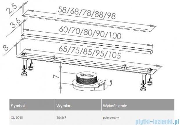 New Trendy Lux Slim odpływ liniowy 80x8x7cm poler OL-0018