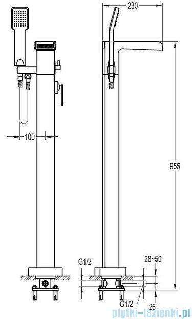 Omnires Cascade bateria wannowa wolnostojąca z kompletem natryskowym chrom CA4033