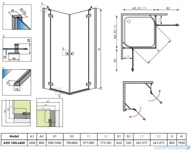 Radaway Kabina prysznicowa Almatea Kdd 100x80 szkło grafitowe + brodzik Doros D + syfon 32180-01-05N
