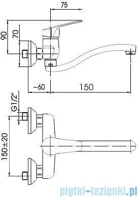 KFA RODON Bateria umywalkowo-zlewozmywakowa ścienna dł. wylotu 200 mm chrom 450-920-00