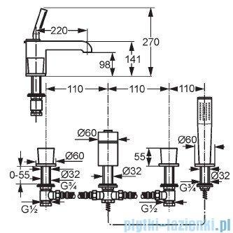 Kludi Joop Bateria wannowo-natryskowa dłuższa wylewka DN 15 chrom/szkło zielone 55425H705