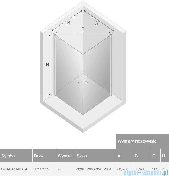 New Trendy New Soleo 90x90x195 cm kabina kwadratowa przejrzyste D-0141A/D-0141A