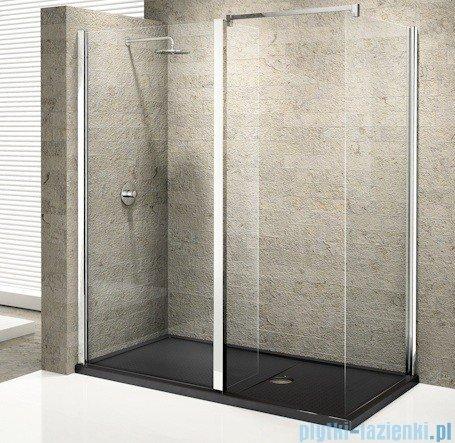 Novellini Elysium Kuadra h Ścianka boczna 130cm szkło przejrzyste profil chrom KUADH130-1K