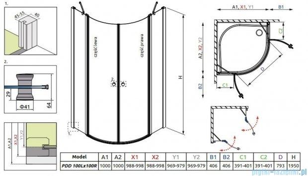 Radaway Eos II PDD kabina prysznicowa 100x100 szkło przejrzyste 3799472-01L/3799472-01R