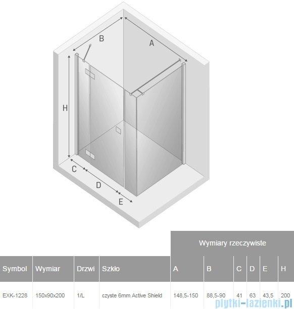 New Trendy Reflexa Plus 150x90x200 cm kabina prostokątna lewa przejrzyste EXK-1228