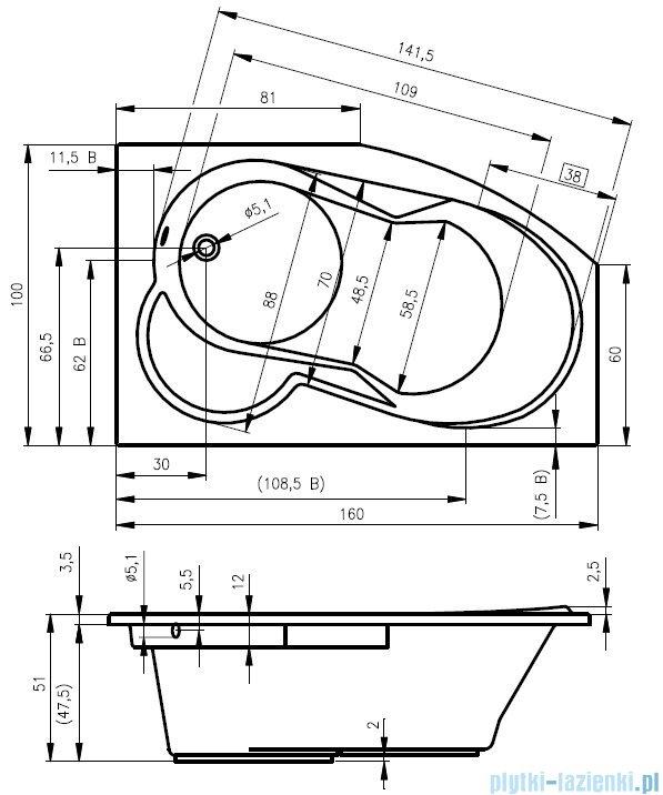 Riho Nora wanna asymetryczna lewa 160x100 z hydromasażem TOP Hydro 6+4+2/Aero11 BA75T5