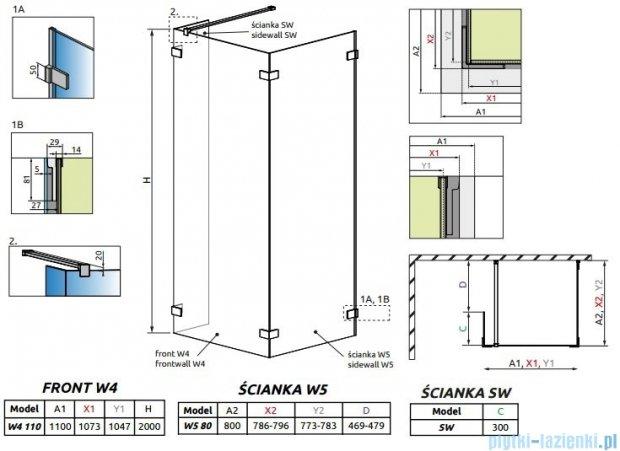 Radaway Euphoria Walk-in IV kabina 110x80cm szkło przejrzyste 383143-01-01/383150-01-01/383160-01-01