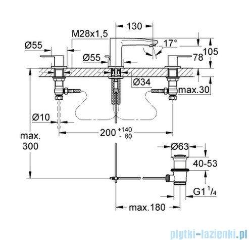 Grohe Eurostyle Cosmopolitan 3-otworowa bateria umywalkowa 20208002