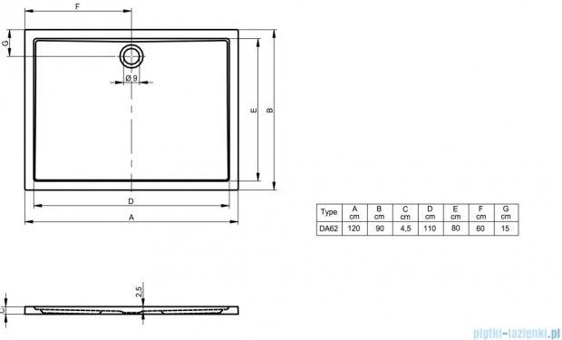 Riho Brodzik prostokątny płaski 254 120x90x4,5 DA62