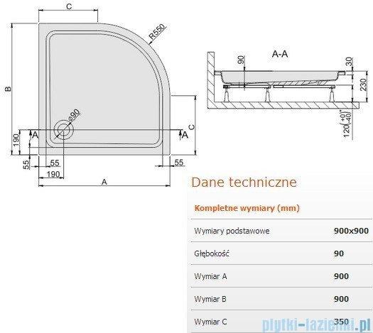Sanplast Free Line brodzik półokrągły 90x90x9cm+stelaż 615-040-0231-01-000