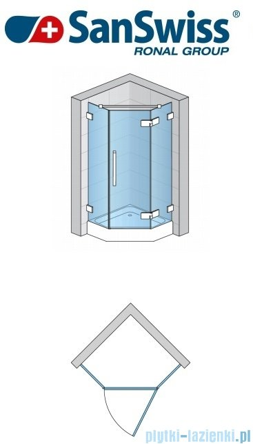 SanSwiss Pur PUR51 Drzwi 1-częściowe do kabiny 5-kątnej 45-100cm profil chrom szkło Durlux 200 Prawa PUR51DSM11022
