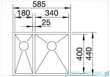 Blanco Zerox 340/180 komora podwieszana prawa  stal szlachetna polerowana  bez k. aut.  517255