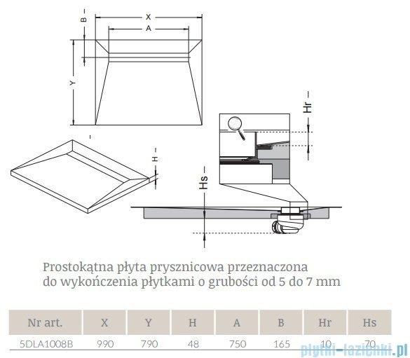 Radaway prostokątny brodzik podpłytkowy z odpływem liniowym na dłuższym boku Basic 99x79cm 5DLA1008B,5R075B,5SL1