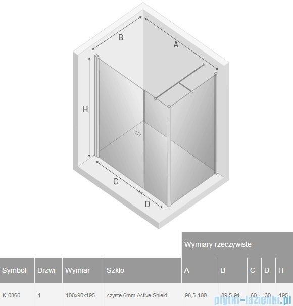 New Trendy New Soleo 100x90x195 cm kabina prostokątna przejrzyste K-0360