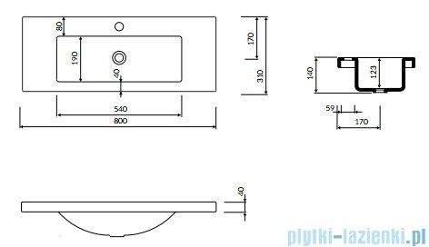 Marmorin Talia 80 umywalka nablatowa 80x31 bez otworu przelewowego i z otworem na baterie biała 270080020011