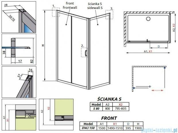 Radaway Premium Plus DWJ+S kabina prysznicowa 150x80cm szkło przejrzyste 33343-01-01N/33413-01-01N