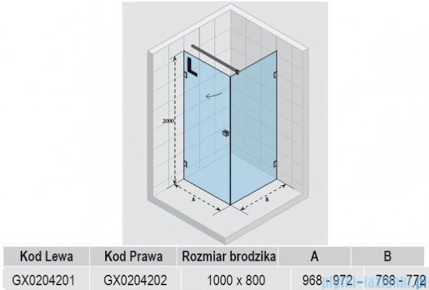 Riho Kabina prysznicowa Scandic Lift M201 100x80x200 cm LEWA GX0204201