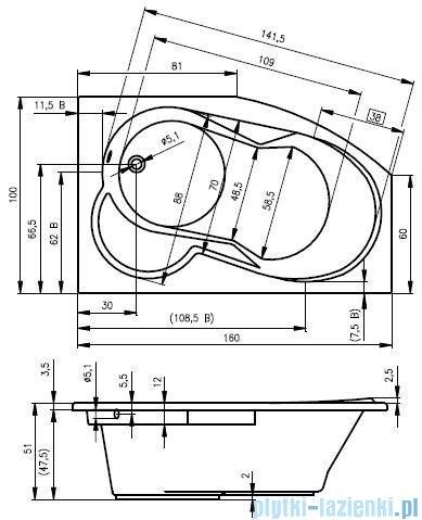 Riho Nora wanna asymetryczna 160x100cm lewa nóżki+syfon BA75/08/AMC55