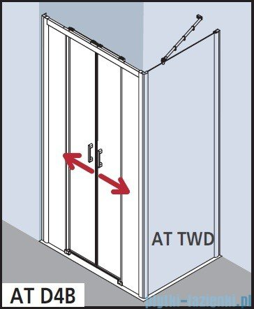 Kermi Atea Drzwi przesuwne bez progu, 4-częściowe, szkło przezroczyste, profile srebrne 180x185 ATD4B18018VAK