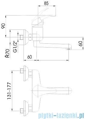 KFA NEFRYT Bateria umywalkowo-zlewozmywakowa ścienna chrom długośc wylotu L=150 mm 500-810-00