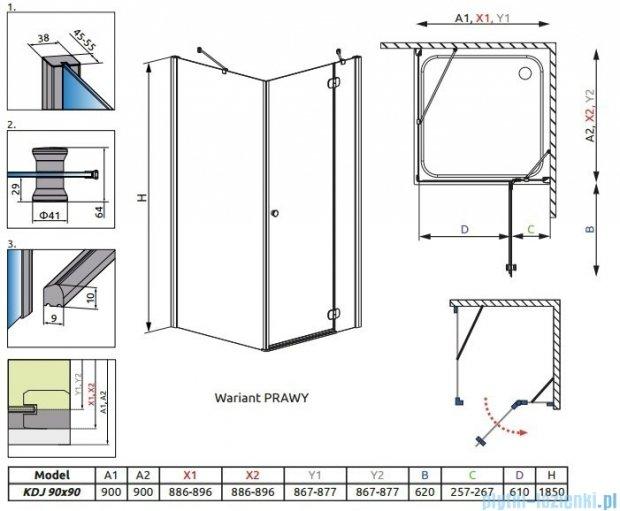 Radaway Torrenta Kdj kabina kwadratowa 90x90 prawa szkło przejrzyste + Brodzik Delos C + Syfon 32202-01-01NR