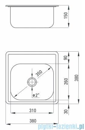 Deante Techno zlewozmywak 1-komorowy bez ociekacza 38x38 cm dekor ZMU 3100
