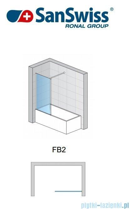SanSwiss Fun Fb2 Ścianka 1-częściowa nawannowa 75cm profil połysk FB207505007