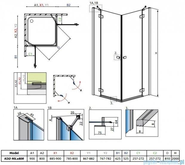 Radaway Fuenta New Kdd kabina 90x80cm szkło przejrzyste 384060-01-01L/384061-01-01R