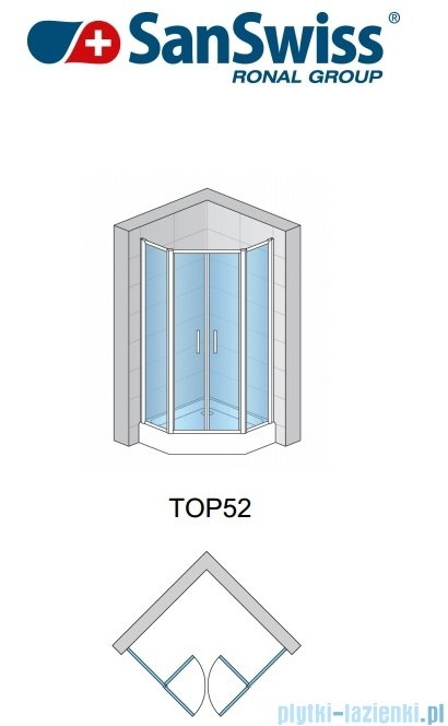 SanSwiss Top-Line Pięciokątna kabina prysznicowa TOP52 z drzwiami otwieranymi 90x90cm TOP5270900422