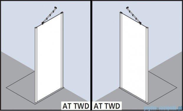 Kermi Atea Ściana boczna, szkło przezroczyste z KermiClean, profile białe 90x185cm ATTWD090182PK