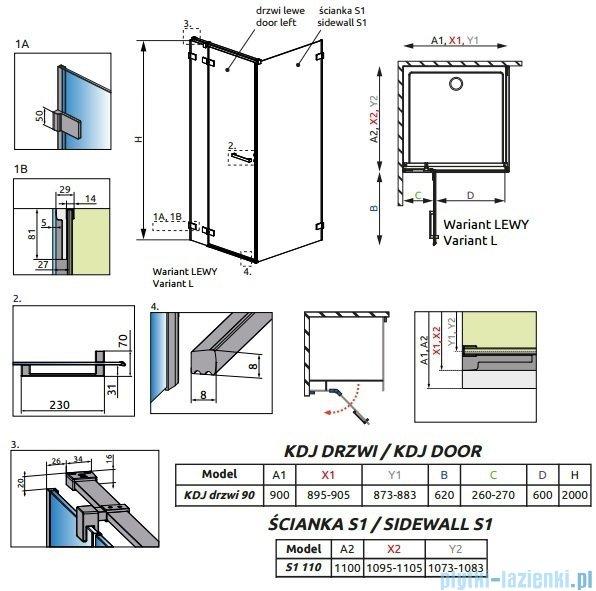 Radaway Euphoria KDJ Kabina prysznicowa 90x110 lewa szkło przejrzyste 383044-01L/383053-01